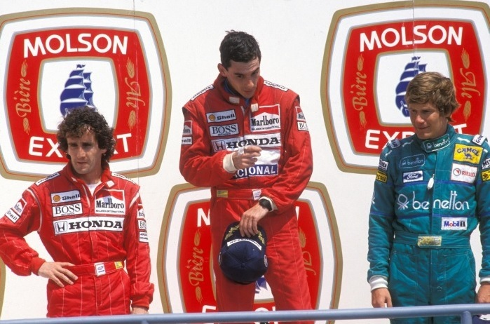Senna Prost Boutsen podium Montréal 1988